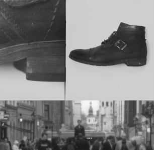 Możliwa akcja: wywyższenie modela ponad innych, Postawienie jego butów na wysokości oczu przechodniów. #moda, #buty, #aboveall, #zwysoka